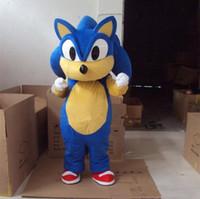 kostüm sonic großhandel-2018 Rabatt Fabrik Verkauf Sonic Maskottchen Kostüm aus dem Igel Kostüm Erwachsenengröße Sonic Cartoon Kostüm mit drei Farben
