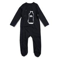 mamelucos pies al por mayor-Newly Black Baby Rompers Newborn Baby Boy Ropa de algodón de manga larga Mono infantil Ropa Footed Pyjamas Impreso
