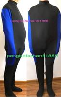 mavi likra toptan satış-Seksi Vücut Çantaları Mumya Catsuit Kostümleri Unisex Yeni Siyah / Mavi Lycra Mumya Takım Elbise Kostümleri Ile Unisex Uyku Tulumları iç Kol Kollu P305