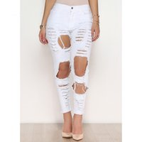 Wholesale Trouser Jeans For Women - Fashion Ripped Denim Pants Hole Trousers Destroyed Jeans Full Length Black White Plus Size for Women S-3XL