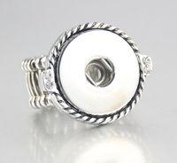 18 mm ayarlanabilir halka toptan satış-6 adet 2018 Yuvarlak Ayarlanabilir gümüş kaplama 18mm Snap Düğmesi Takılar Için Snap Düğmesi Yüzükler Takı