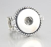 anel ajustável de 18mm venda por atacado-6 pcs 2018 Rodada Ajustável prateado 18mm Snap Botão Anéis Jóias Para Snap Button Encantos