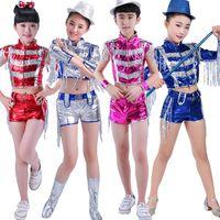 Wholesale Girls Hip Hop Dancewear - Sliver Blue Girls Sequined Modern Jazz Hip Hop Dancewear Outfits Kid's Boys Ballroom Party Dance Stage Wear Dancing Costumes