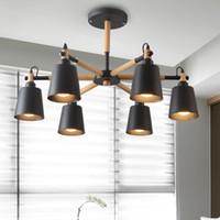 Wholesale tom dixon lampshade - Lustre Solid Wood Chandelier For Living Room Iron Lampshade LED Chandelier Lighting Lustres Para Sala De Jantar Home Lamp E27
