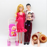 Wholesale Real Boy Doll - 1Set Family 5 People Dolls Suits Mom   Dad   Girl Boy  Baby Carriage Real Pregnant Doll Gifts Hot Selling