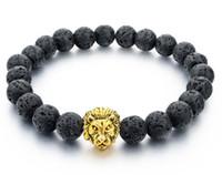 Wholesale natural bamboo beads - Natural Stone Gold Color Lion Strand Men Bracelet Femme Handmade Beads Bracelets Ethnic Men Jewelry Gifts