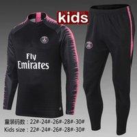 Wholesale child jogging suit - New kids Paris tracksuit 2018-2019 soccer jogging jacket MBAPPE NEYMAR JR POGBA 18 19 Paris child Football Training suit survêtement