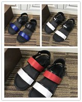 Wholesale stick appliques - Famous brand Men flat casual sandals fashion summer slippers Genuine Leather Magic stick craft comfortable sandals high quality new style