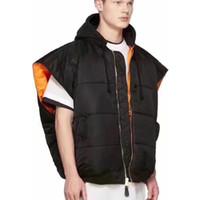Wholesale hooded sleeveless jacket woman for sale - 2019 New Vetements Vest Men Women Winter Casual Loose Vetements Waistcoat Thicken Both Size Sleeveless Vetements Jackets Coat