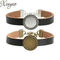 Wholesale cabochon settings photo resale online - XINYAO Black Leather Cuff Bracelet Bangle Blank Base Fit mm Round Photo Glass Cabochon Setting Bezel Tray Jewelry Making F5341