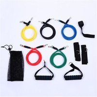 bant abs toptan satış-Ücretsiz kargo 11 ADET 1 Takım Lateks Direnç Bantları Spor Egzersiz Tüp Halat Seti Yoga ABS Egzersiz Spor