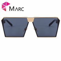 lunettes de soleil résine achat en gros de-MARC UV400 FEMME HOMME Lunettes de soleil Oculos Carré Revtangle Miroir De Mode Marque Conception En Alliage De Métal Ruban Gris Résine Lunettes De Vue Effacer