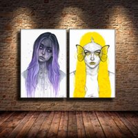 Wholesale canvas prints wall painting purple resale online - Pencil Yellow Purple Meets Watercolor Cool Pieces Canvas Prints Wall Art Oil Painting Home Decor Unframed Framed
