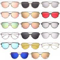 3d gözlük tasarımı toptan satış-Toptan Vintage Lady Gül Altın Kedi Göz Güneş Kadınlar Marka Tasarım İkiz-Kirişler Optik Gözlük Çerçeve Erkekler Için Güneş gözlükleri Kadın oyuncaklar