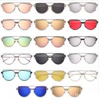 Wholesale lady toys - wholesale Vintage Lady Rose Gold Cat Eye Sunglasses Women Brand Design Twin-Beams Optical Eyeglasses Frame Men Sun Glasses For Female toys