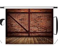 accessoires photographiques en bois achat en gros de-En gros Polyester Vinyle Vintage Rouge Brique Mur En Bois Sol Décors De Fond Pour La Photographie Studio Toile de Fond Photo Props Décor
