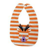 toalha de boca venda por atacado-Listrado veados frente e verso dos desenhos animados fivela bebê pulseira bebê boca saliva toalha cor: laranja
