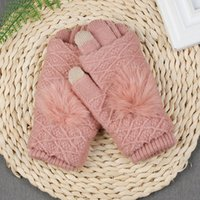 Wholesale womens knitted gloves resale online - Detachable Dual Layer Winter Gloves Womens Warm Pompoms Fur Ball Fingerless Glove Touchscreen Mittens Knit Wool Gloves S1025