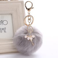 Wholesale dance key chains - 3.15 Inch Girl Women Fur Ball Rhinestone Ballerina Keychain Ballet Dancing Girl Handbag Accessories Car Key Chain For Bag