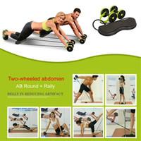 yeni spor ekipmanları toptan satış-Yeni Kas Egzersiz Ekipmanları Ev Fitness Ekipmanları Çift Tekerlek Karın Güç Tekerlek Ab Rulo Gym Roller Trainer Eğitim