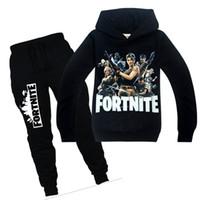 Wholesale kids clothing sets online - 2018 New Spring Autumn Fortnite Boys Clothes Long Sleeve T Shirt Pants Sport Suit Kids Girls Clothing Set Infant Clothing