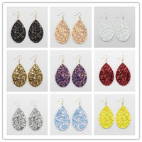 Wholesale Red Teardrop Earrings - 2018 New Spring Summer Fashion Boho Jewelry Rainbow Galaxy Glitter Leather Teardrop Dangle Earrings for Women Pu Leather Earrings
