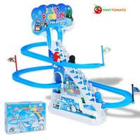 juguetes educativos para niños pequeños al por mayor-Electrónico Educativo Bebé Niño Plástico Tablero deslizante Niño Inteligencia Infantil Juguetes Regalo Penguim Animal Escalada Escaleras juguetes