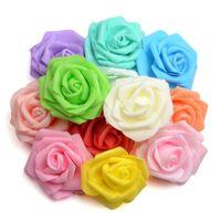 ingrosso fiore di rosa schiuma di 7cm-100pcs 7cm Handmade Schiuma Artificiale Rosa Capolini Sposa Bouquet Festivo Matrimonio Fiori Decorativi Kissing Ball