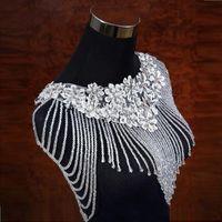 fildişi gelinlik çin toptan satış-Fildişi Bolero Aplikler Kristaller Düğün Wrap Düğün Çin'de Yapılan Düğün Aksesuarları Abiye Boncuk Şal