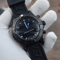 мужские часы оптовых-2018 Новый роскошный наручные часы спорта Япония кварц Многофункциональный двойной часовой пояс Черный стальной резиновый ремень мужские часы