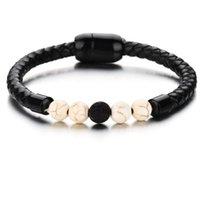 ingrosso braccialetti in rilievo in pelle-gioielli di design bracciali in acciaio inox pietra lavica naturale Bracciali in pelle PU per uomo moda calda