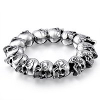 Wholesale first class sets - Original jewelry wholesale European and American punk style classic domineering titanium steel skull men's bracelet first-class texture
