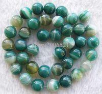 grüne achat runde perle großhandel-DIY Halbzeuge Grüne Venen Achat Runde Form Perlen 10mm 15inches