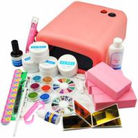 Wholesale uv false nail kit - Pro Uv Gel Polish Kit 36w Nail Dryer Lamp For Nail Glitter Rhinestone False Tips Acrylic Nail Art Set For Manicure Pedicure