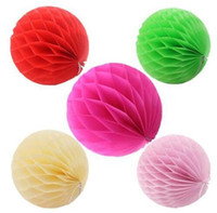 ingrosso lanterne di fiori di carta velina-ECO Friendly Honeycomb Shape Balls Tissue Flower Lantern Flower Hanging Decorazione Pompom Per Home Party Supply 2 5xh Z.