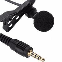 micrófono largo al por mayor-2018 Mini 3.5mm Jack Micrófono Lavalier Tie Clip Micrófonos alámbricos para hablar Discurso Conferencias Teléfono móvil 1.5 m Cable largo