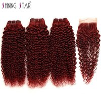Wholesale 99j curly weave for sale - Burgundy J Red Kinky Curly Bundles With Closure brazilian virgin Kinky Curly human hair bundles with closures