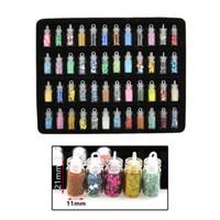 Wholesale nail materials online - 48pcs Set Multi Colors Nail Ornament Set Nail Polish Powder Sequins DIY Material mm with Gift Box