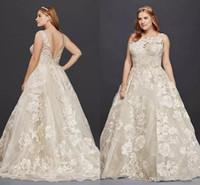 Wholesale wedding dress tank bodice resale online - Oleg Cassini Tank Lace Plus Size Wedding Dress with Beads D Appllique Plus Size Princess Full length Beach Wedding Bridal Dress