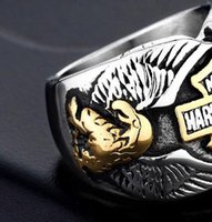 Wholesale eagle set resale online - Punk Jewelry Double Eagle Style Stainless steel Rings Popular Personality Motorcycle Rings Harley Rings Drop Shipping