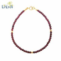 Wholesale 4mm gemstone beads - Lii Ji Natural AAA Red Garnet 3-4mm Beads 925 sterling silver Gold Color Fashion Gemstone Anklet Women Gift