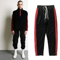 Wholesale velvet pants men - Kanye West Joggers Streetwear men lovers oversized Daniel Patrick Pants hip hop Splice Stripes Side zipper solid velvet pants