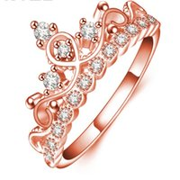 Wholesale Heart Shaped Ring Rhinestone Crystal - Wedding Jewelry Crystal Heart Crown New Fashion Crown Shaped Ring Rose Gold Color CZ Rings For Women Zirconia Jewelry Wedding Band Rings
