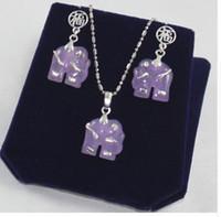 Wholesale purple elephant necklace for sale - Group buy fashion new design jewelry purple jades elephant earrings pendant