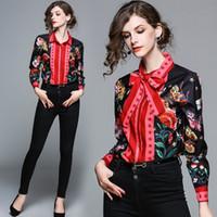 ofis bluzları yaka toptan satış-Yeni Varış Güz Pist Lüks Vintage Yılan Çiçek Baskı OL Bayan Lady Casual Ofis Düğmesi Ön Yaka Uzun Kollu Gömlek Tops Bluz