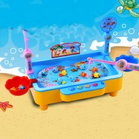 Wholesale pool toys games - Fishing Toy Electric Magnetic Baby Puzzle Catch Fish Games Pool Toys Playset With Music Multifunction Intelligence Development props 27ay Z