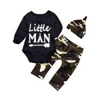 bebek kışlık takım elbise seti toptan satış-2018 Moda Erkek Bebek giyim 3 parça setleri Üst bodysuits + pantolon + Şapka Sonbahar Kış bebek uzun kollu toddler romper takımları