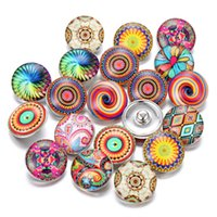 Wholesale new beautiful flowers - New Glass Snap Jewelry Mixed Beautiful Exotic Pattern 18mm Glass Snap Buttons for DIY Noosa Chunk Bracelet Wholesale Buttons Jewelry