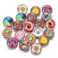 düğme güzel toptan satış-Yeni Cam Yapış Takı Karışık Güzel Egzotik Desen 18mm Cam DIY Noosa Chunk Bilezik için Düğmeler Toptan Düğmeler takı