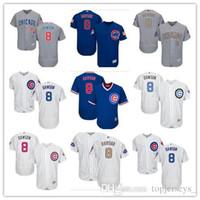 envie camisetas de baseball autênticas venda por atacado-personalizado Homens mulheres jovens Majestic Chicago Cubs Jersey Nº 8 Andre Dawson Início Azul Cinzento Branco jérseis de basebol